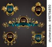 set of golden royal shields... | Shutterstock .eps vector #648756850