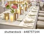 close up on the desk of elegant ... | Shutterstock . vector #648757144