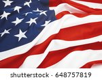 close up shot of big us flag.... | Shutterstock . vector #648757819