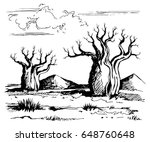 australia landscape with baobab ... | Shutterstock .eps vector #648760648