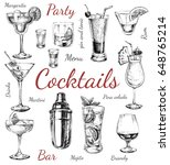 set of sketch cocktails and... | Shutterstock . vector #648765214