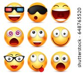 smiley with glasses smiling... | Shutterstock .eps vector #648765520