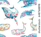 whale with flowers seamless...   Shutterstock . vector #648768898