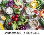 balanced healthy diet food... | Shutterstock . vector #648769318