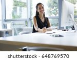 portrait of cheerful employer... | Shutterstock . vector #648769570