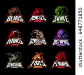 bear  horse  snake  ram  fox ... | Shutterstock .eps vector #648771850