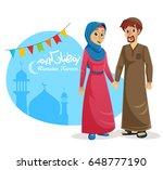 happy muslim family of husband... | Shutterstock .eps vector #648777190