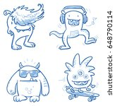 set of funny cool monsters ... | Shutterstock .eps vector #648790114