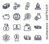 dollar icons set. set of 16... | Shutterstock .eps vector #648791419