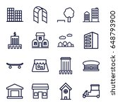 city icons set. set of 16 city... | Shutterstock .eps vector #648793900