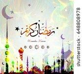 ramadan kareem with arabic... | Shutterstock .eps vector #648808978