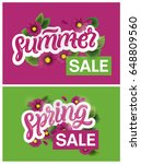 spring and summer sale banners... | Shutterstock .eps vector #648809560