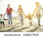 mixed race family friends... | Shutterstock . vector #648817924