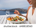 restaurant woman eating salad... | Shutterstock . vector #648818560