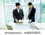 image of engineer meeting for... | Shutterstock . vector #648833890
