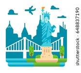 flat design liberty statue new... | Shutterstock .eps vector #648837190