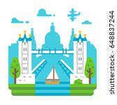 flat design tower bridge london ... | Shutterstock .eps vector #648837244