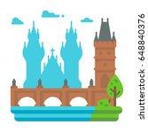flat design charles bridge... | Shutterstock .eps vector #648840376
