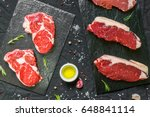 beef cow steak meat with spices ... | Shutterstock . vector #648841114