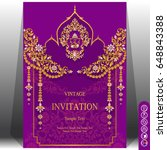 invitation card template with... | Shutterstock .eps vector #648843388