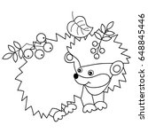 vector black and white cute... | Shutterstock .eps vector #648845446