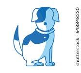 cartoon sitting dog with collar ... | Shutterstock .eps vector #648848230