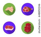 chicken wings  ham  raw steak ... | Shutterstock .eps vector #648850246