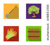 a shovel with a handle  a tree... | Shutterstock .eps vector #648851500
