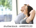 side view of a happy couple... | Shutterstock . vector #648855133