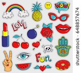 set of cute and trendy patches. ... | Shutterstock .eps vector #648857674