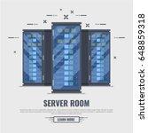 three server rack. server room... | Shutterstock .eps vector #648859318