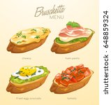 set of bruschetta   delicious... | Shutterstock .eps vector #648859324