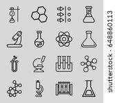 scientific icons set. set of 16 ... | Shutterstock .eps vector #648860113