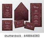 wedding invite marsala design... | Shutterstock .eps vector #648866083