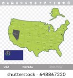 usa nevada state map and flag...   Shutterstock .eps vector #648867220