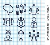 set of 9 staff outline icons... | Shutterstock .eps vector #648870874