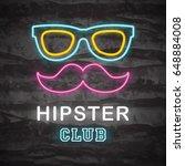 hipster neon logo  vector neon... | Shutterstock .eps vector #648884008