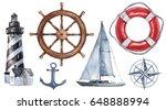 watercolor hand drawn nautical  ... | Shutterstock . vector #648888994