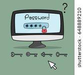 desktop computer with password... | Shutterstock .eps vector #648889210