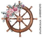 watercolor hand drawn nautical  ... | Shutterstock . vector #648889690