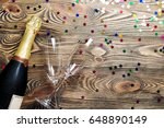 pair glass of champagne. flutes ...   Shutterstock . vector #648890149