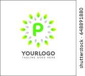 p letter circle leaf logo... | Shutterstock .eps vector #648891880