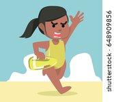 african female lifeguard running | Shutterstock .eps vector #648909856