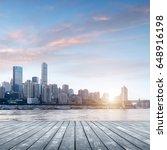 wooden platform in front of the ... | Shutterstock . vector #648916198