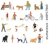 Stock vector people walking with different breeds of dogs set owner with the dog big set isolated on white 648917860