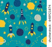 colorful vector of rockets and... | Shutterstock .eps vector #648921874