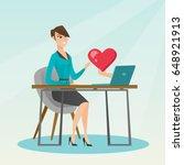 caucasian woman looking for... | Shutterstock .eps vector #648921913