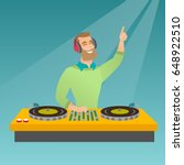 young hipster dj with beard... | Shutterstock .eps vector #648922510