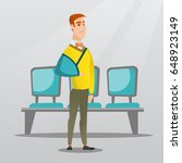 injured caucasian man wearing... | Shutterstock .eps vector #648923149