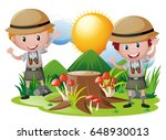 two boys in safari outfit... | Shutterstock .eps vector #648930013